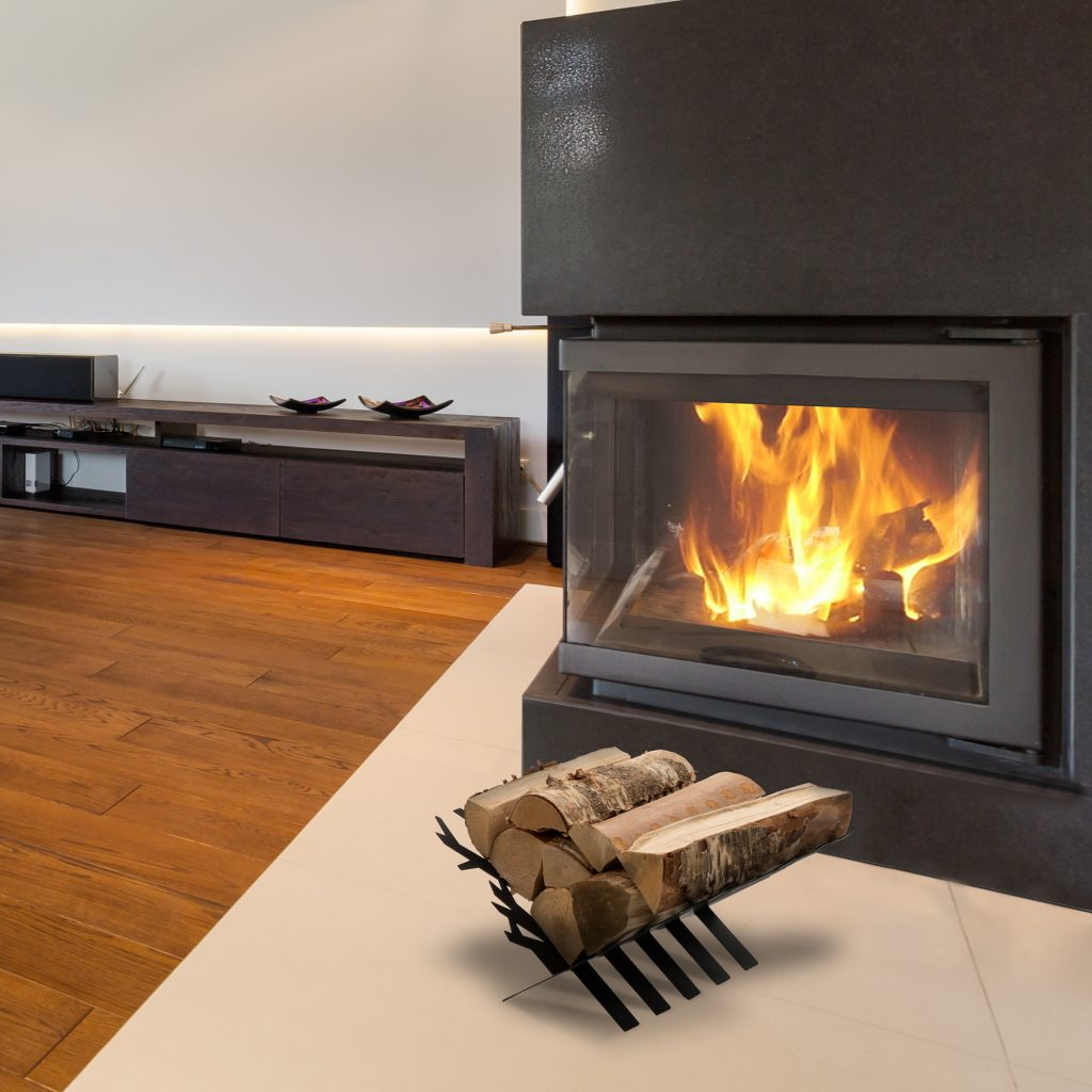 Tree firewood holder in a spacious modern living room with a fireplace