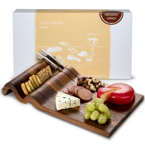 Wave Charcuterie board with two knives