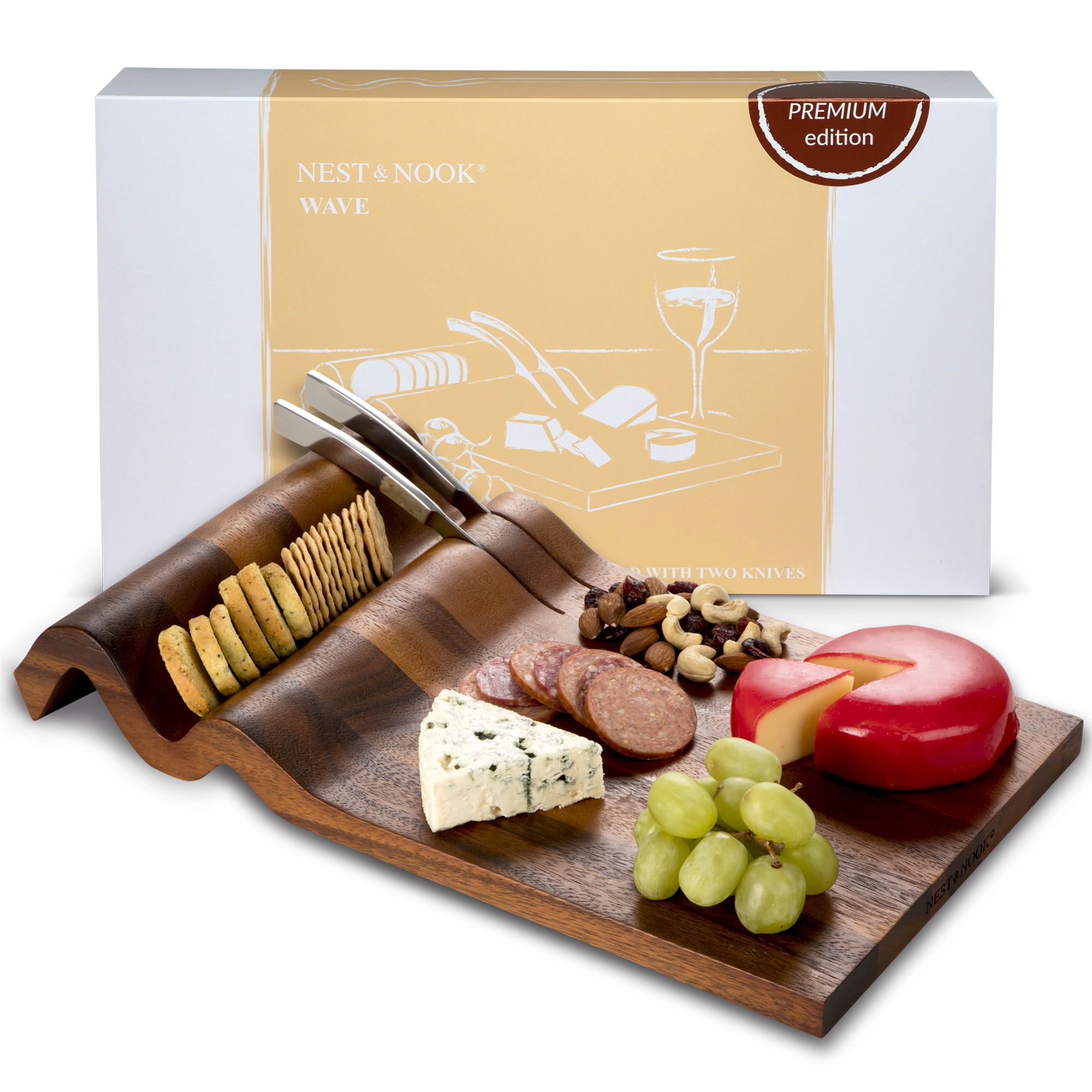 Wave <br>cheese board with knives
